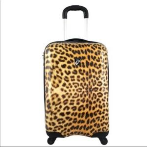 ✈️Anthro Leopard Print Carry On Hard Case Luggage